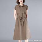 棉麻洋裝新款純色連身裙女寬松休閒收腰顯瘦短袖中長裙襯衫裙 快速出貨