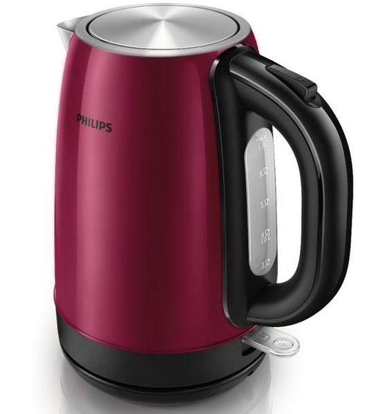 免運費 PHILIPS飛利浦 1.7L不鏽鋼煮水壺/快煮壺/電水壺/電茶壺/熱水瓶 紅色 HD9322