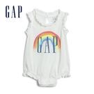 Gap嬰兒 Logo棉質無袖包屁衣 580636-光感亮白