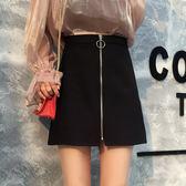 短裙拉錬包臀裙高腰a字裙半身裙黑色大碼女學生短裙子小艾時尚
