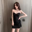 抹胸洋裝 女裝夏季性感荷葉邊緊身氣質包臀連身裙抹胸黑色短裙子-Ballet朵朵