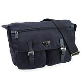 【奢華時尚】PRADA 藍色防水帆布掀蓋雙口袋斜背包(九成新)#25152