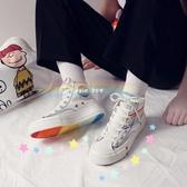 仙女彩虹帆布鞋女網紅潮鞋百搭學生韓版高筒泫雅風鞋子聖誕交換禮物