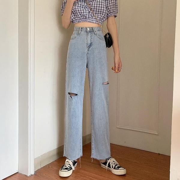 破洞牛仔褲 夏季潮泫雅破洞牛仔褲女薄款顯瘦高腰直筒寬鬆寬管褲-Ballet朵朵