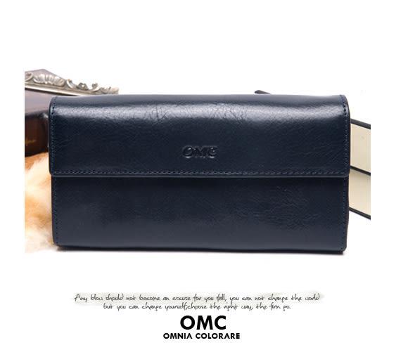 OMC - 原皮魅力系列多層手拿式長夾 - 星辰藍