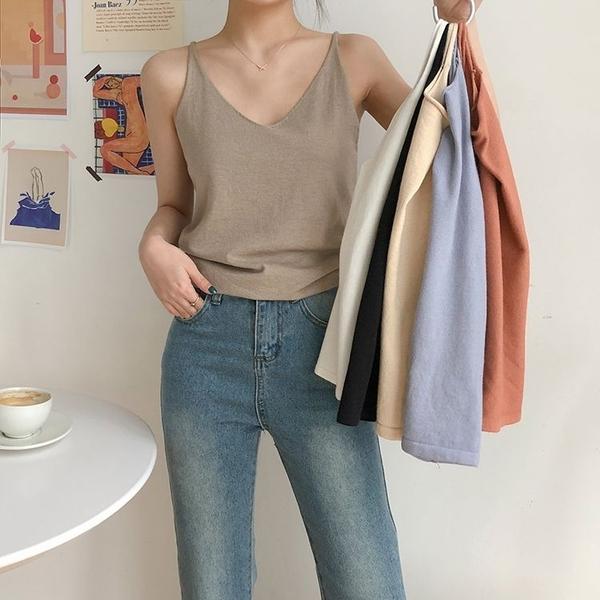 韓系女裝 純色V領針織細肩帶小背心【C1066】