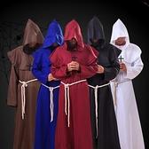 萬圣節cosplay 古裝中世紀僧侶服裝修士袍巫師服牧師服基督徒套裝快速出貨