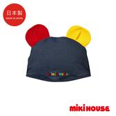 MIKI HOUSE 日本製 抗UV可愛普奇熊耳朵造型泳帽(碇藍)