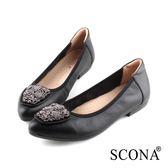 SCONA 蘇格南 全真皮 氣質時尚鑽飾尖頭鞋 黑色 31028-1