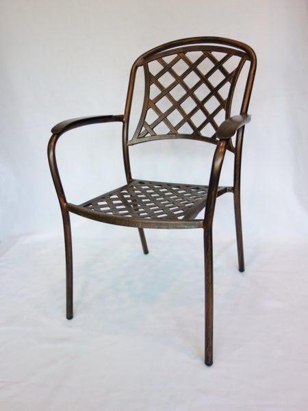 【南洋風休閒傢俱】戶外休閒椅系列-戶外休閒鋁椅 格子鑄鋁餐椅 適民宿 餐廳 (#113C)