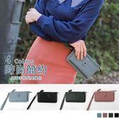 《YA286》簡約皮革質感長夾手提錢包 OrangeBear
