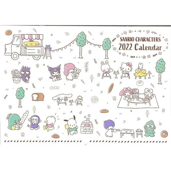 小禮堂 Sanrio 2022 A4掛曆 (米色款) 4904555-05708