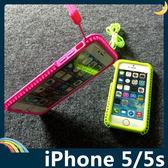 iPhone 5/5s/SE 潮流螢光色保護套 軟殼 韓國原裝 附掛繩 掛脖 全包款 矽膠套 手機套 手機殼