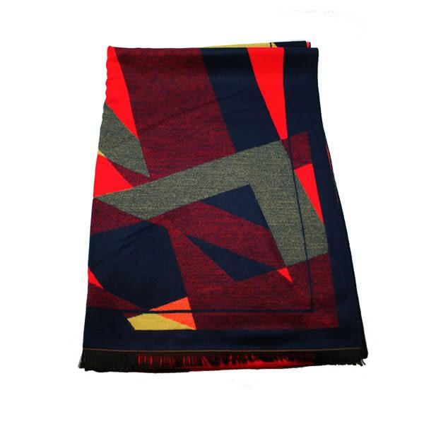OT SHOP圍巾‧冬日溫暖禦寒拼色款仿羊絨混毛料百搭圍巾披肩簡約配色灰粉/紅藍/紫藍現貨D1805