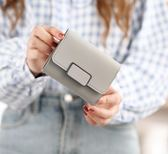 2018新款簡約短款錢包女士韓版搭扣皮夾迷你小錢夾學生零錢包卡包「摩登大道」