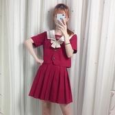 jk制服 日系正統jk制服女軟妹裙校服班服紅色學院風套裝 超級玩家
