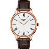 TISSOT天梭 Tradition 羅馬薄型石英錶-白x咖啡/39mm T0634093601800