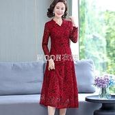 新款裝媽媽連衣裙高端喜慶結婚禮服中長款中年女裝闊太太裙子 快速出貨