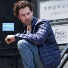 【Y218】shiny藍格子-輕巧時尚.秋冬季男立領輕薄羽絨外套