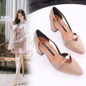 仙女正韓尖頭鞋子復古包頭涼鞋粗跟百搭高跟鞋女