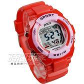 Polit 休閒造型多功能運動電子錶 女錶 冷光照明 防水手錶 兒童錶 學生錶 P610粉紅紅