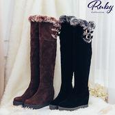 鞋子 絨毛邊內增高厚底高筒過膝長靴-Ruby s 露比午茶