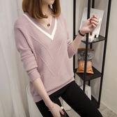 毛衣V領女士毛衣2018春季新款套頭短款低領針織打底衫寬松潮「爆米花」