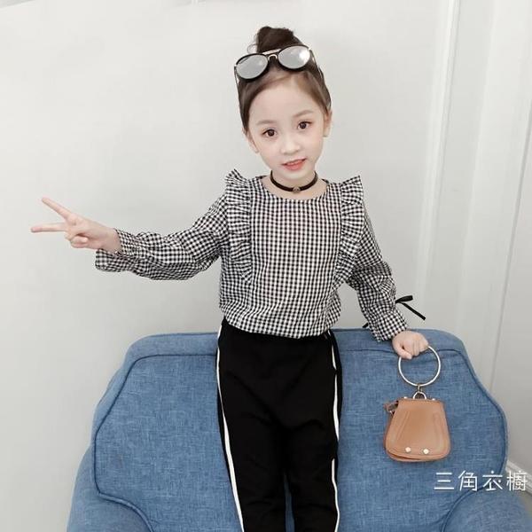 女童襯衫長袖2020新品洋氣時尚童襯衣格子時髦秋裝上衣韓版打底衫