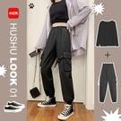 工裝褲 黑色工裝褲女褲春秋裝新款百搭寬鬆bf高腰直筒顯瘦闊腿褲垂感