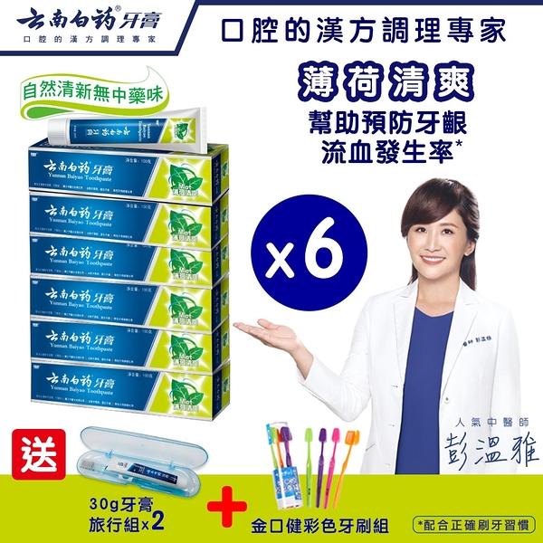 【雲南白藥牙膏】薄荷清爽6入組 幫助預防牙齦流血/牙周病/口腔異味發生率 漢方護齦功能性牙膏