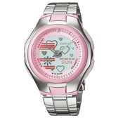 【CASIO】 Poptone系列可愛甜心雙顯指針錶-粉(LCF-10D-4A)