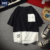 寬鬆短袖T恤 男士加肥大尺碼半袖圓領白色衣服韓版潮流男裝