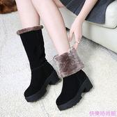 防滑厚底雪地靴女中筒靴加絨保暖棉靴冬靴女棉鞋真皮靴子