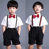 男童白色短袖襯衫西褲黑短褲套裝紅領結表演服兒童花童禮服演出服 嬌糖小屋