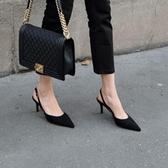 性感尖頭女單鞋細跟高跟鞋側空淺口