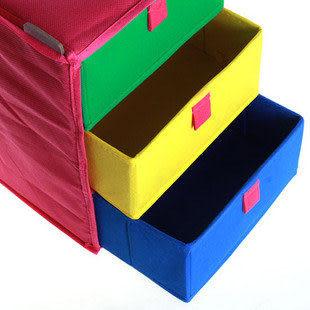 黃綠藍 全硬殼 加厚三層三抽收納箱 收納盒 890g