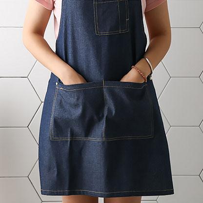 Qmishop 圍裙 牛仔風圍裙 廚房圍裙 餐廳工作服【J3091】