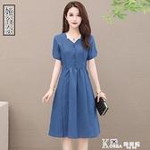 棉麻洋裝 夏季大碼棉麻洋裝2021新款貴夫人女人味收腰遮肚子顯瘦純色裙子