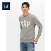 Gap男裝基本款徽標LOGO圓領針織衫516644-混凝土灰