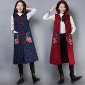 民族風秋冬女裝新款中式復古提花繡花長款加厚無袖棉襖洋裝