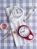 北歐靜音廚房專用鐘簡約創意家用鐘表磁鐵宜家磁性貼冰箱的小掛鐘