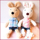 日本le sucre砂糖兔(法國兔)-30cm(布格子款)(棕/白2色可選)居家佈置.生日聖誕情人節禮物幸福朵朵