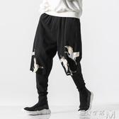 中國風男裝秋季假兩件褲子胖子大碼寬鬆嘻哈燈籠褲闊腿哈倫褲潮流 雙十二全館免運