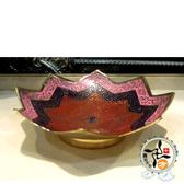 印度彩繪八瓣銅盤5吋  【 十方佛教文物】