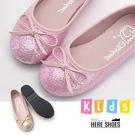 [Here Shoes]童鞋-MIT台灣製公主風閃亮金蔥蝴蝶結平底圓頭包鞋娃娃鞋─AN2239