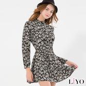 LIYO理優MIT立領滿版印花綁帶洋裝L646002
