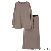 「Hot item」【SET ITEM】螺紋針織開叉上衣+針織長裙 - Green Parks