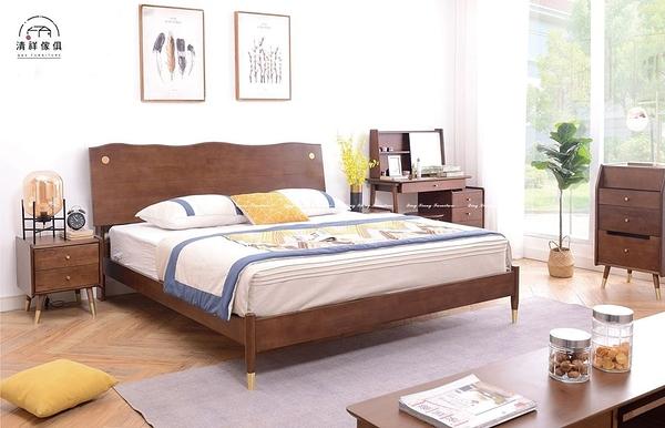 【新竹清祥傢俱】NBB-55BB03-北歐輕奢五尺實木床架 雙人床架 全實木 無印 臥室 5*6 床框 現代