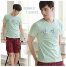 【大盤大】(T85973) 男 台灣製 100%純棉T恤 涼感T 圓領TEE 文字T 套頭 湖水綠 打底衫【剩M和L號】