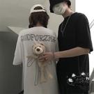 情侶裝 白色t恤女短袖2020年新款夏季ins原宿風寬鬆韓版小熊情侶裝夏裝潮 VK2434